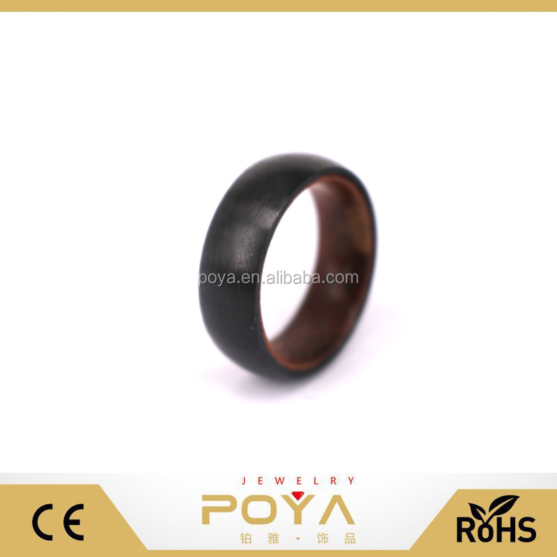 POYA Jewelry Wood Wedding Ring in Domed Black Carbon Fiber and Bent Rosewood