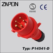 P14541-D red color electrical multi socket plug