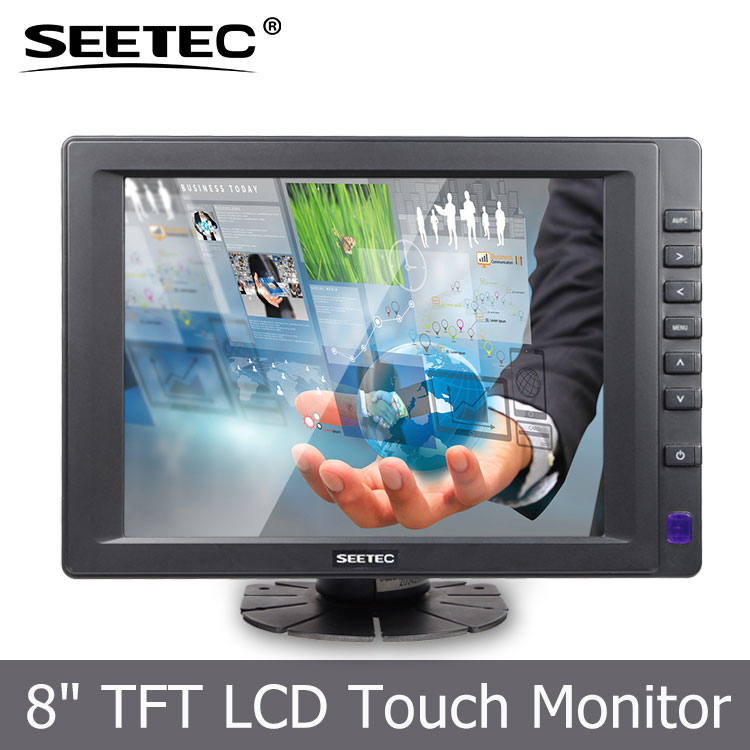 Standing 8 inch VGA HDMI DVI interface LCD panel LED backlight 5-Wire Resistive touch screen laptop monitor