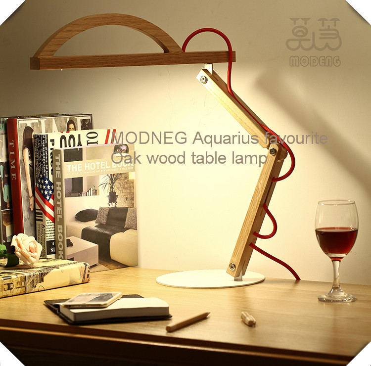Modeng Arc head bent legs modern office lighting led red oak wood light dimmable led desk lamp FOR interior decoration