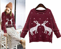 Alibaba China short new cotton knitted sweatshirt winter ladies pullover women fashion two deers design Christmas sweater