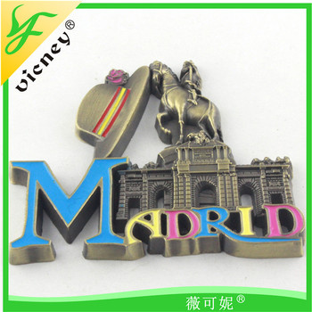 Madrid promotion souvenir custom creative metal magnet fridge magnet