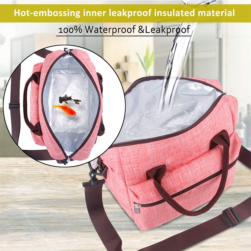 Waterproof Lunch Bag for Women Insulated Lunch Box with Adjustable Shoulder Strap