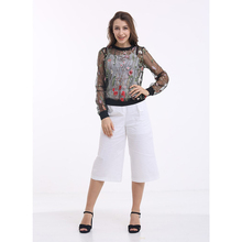 Guangzhou factory women casual see through ladies new blouse designs ,blouses and pants trousers,transparent woman blouse