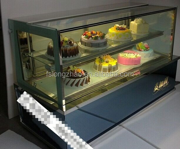 cake showcase / Curved glass cake display cabinet/Bakery refrigeration equipment