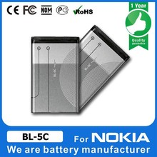 3.7v 800mah bl-5c battery bl-5c 3.7v 1020mah cell phone battery for nokia
