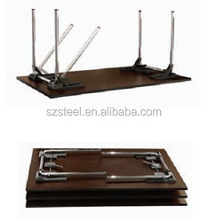 Folding Table with Wheels, wooden folding table with metal flip table base