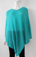 Wholesale women Sumer wearing 14gg merino wool nylon poncho wraps