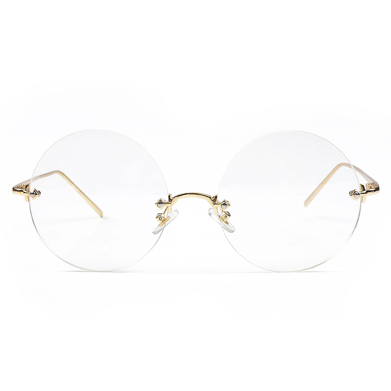 Round Eyeglasses Frames Rimless Optical Glasses Spectacle ss005