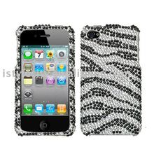 black zebra skin diamante protector cover for iphone 4