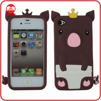 High Quality Fancy Silicone 3D Animal Case for Iphone 4 4s