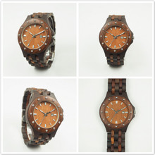 Luxury brand natural sandal wood custom logo wood wrist watch copper beads wooden watches lady watch 2017 hot