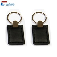 Elegant Black Leather RFID key fobs with an iron ring for the attachment