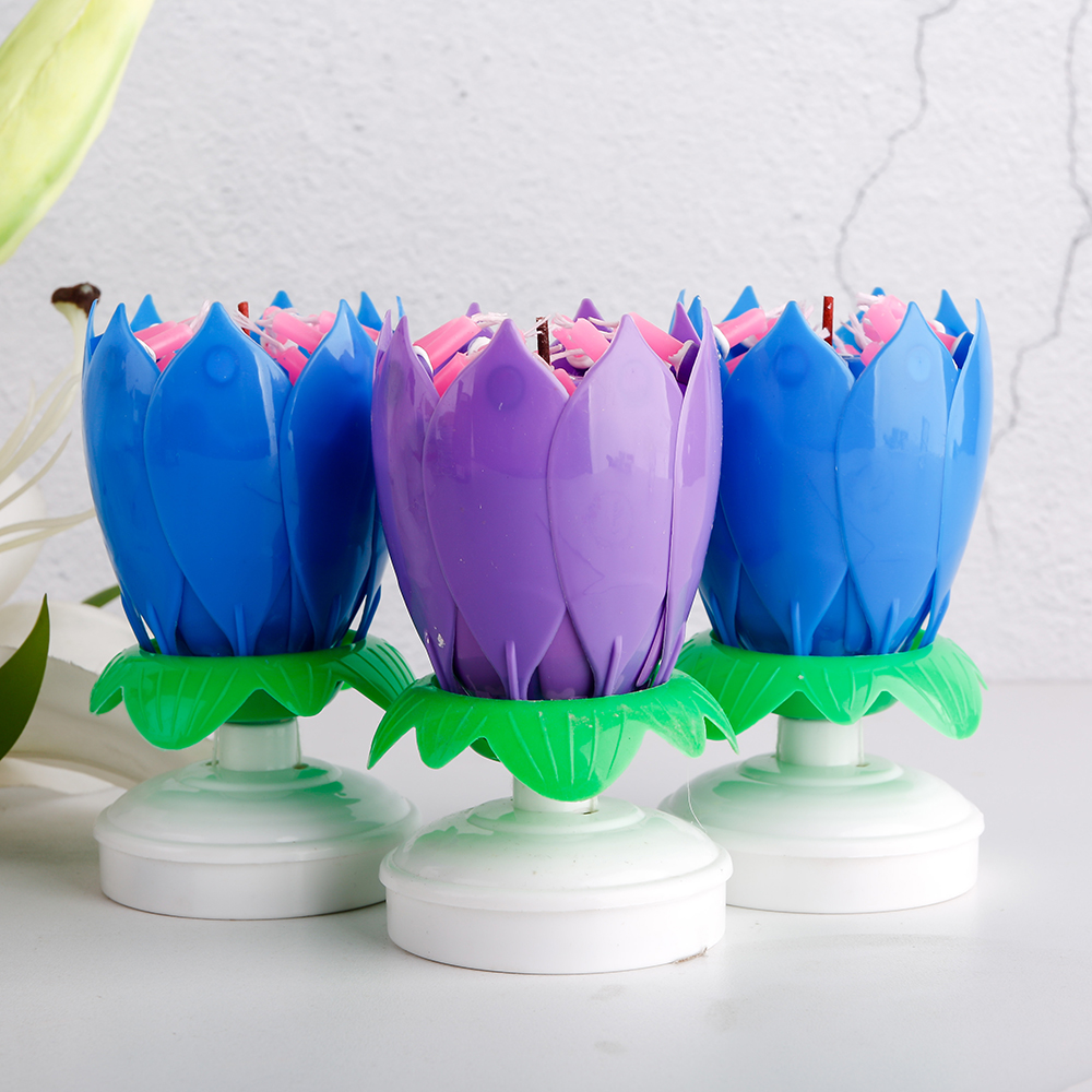 electronic rotating lotus flower music candle for birthday