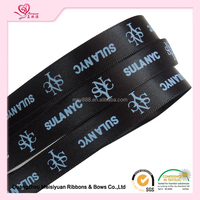 2.5cm balck satin ribbon with personal logo for floral