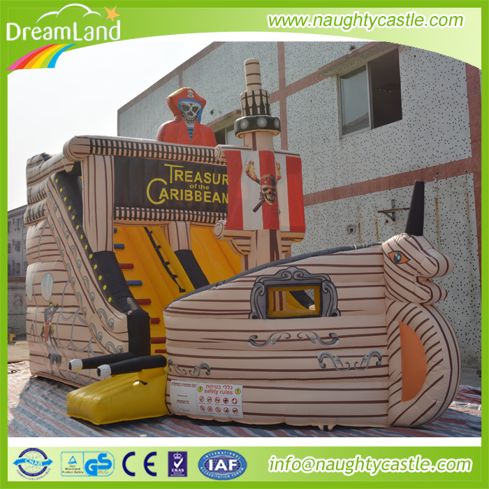 Hot Sell Inflatable Pirate Ship Slide, inflatable yellow pirate ship, outdoor inflatable slide