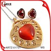 heart shape Fashion Necklace Sets gold Plated Red Jade Wedding Jewelry Set 2015