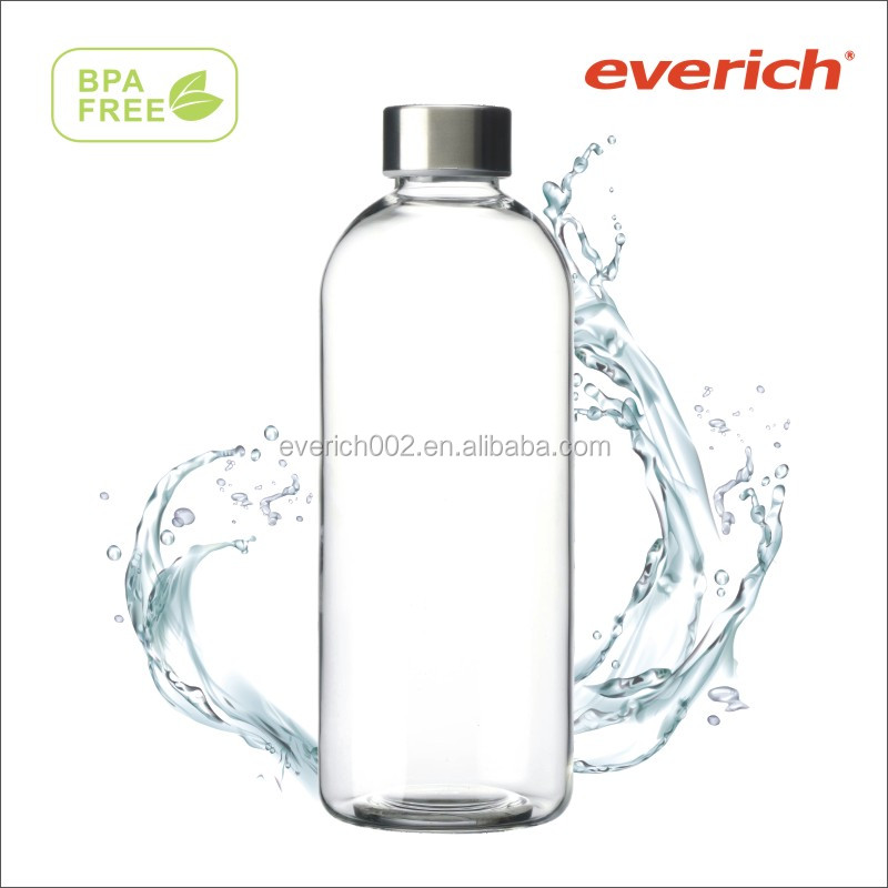 BPA free Eco friendly stainless steel cap 1liter glass bottle borosilicate