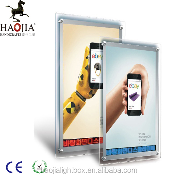 crystal super thin light box with walking screen words for indoor advertising display