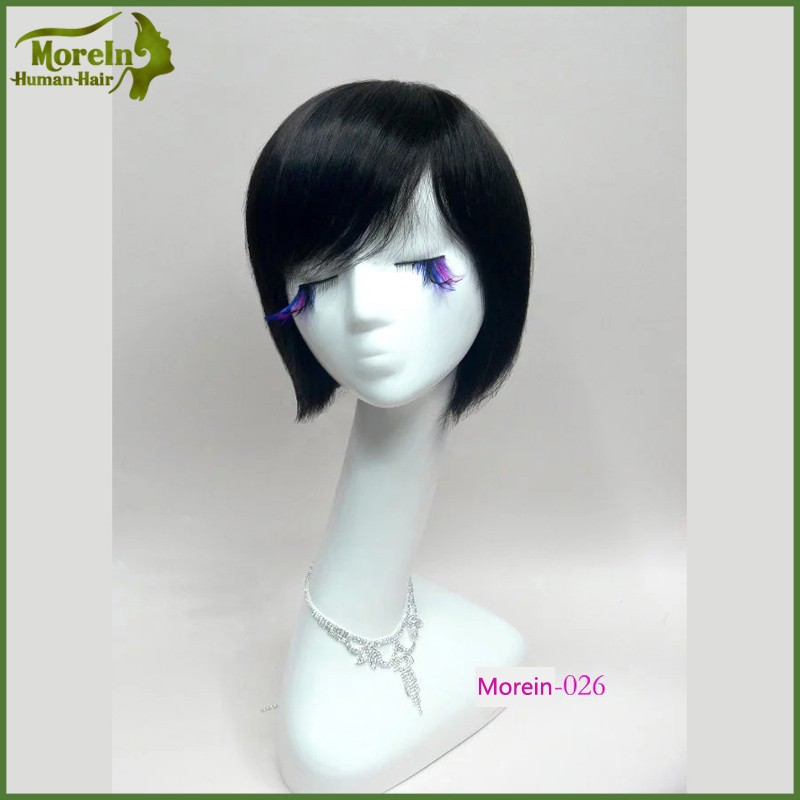 Short Straight natural black Cosplay Wig Bob Style human Hair Wigs cheap party wigs