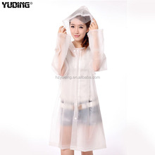 clear transparent long women sexy pvc raincoat with hood