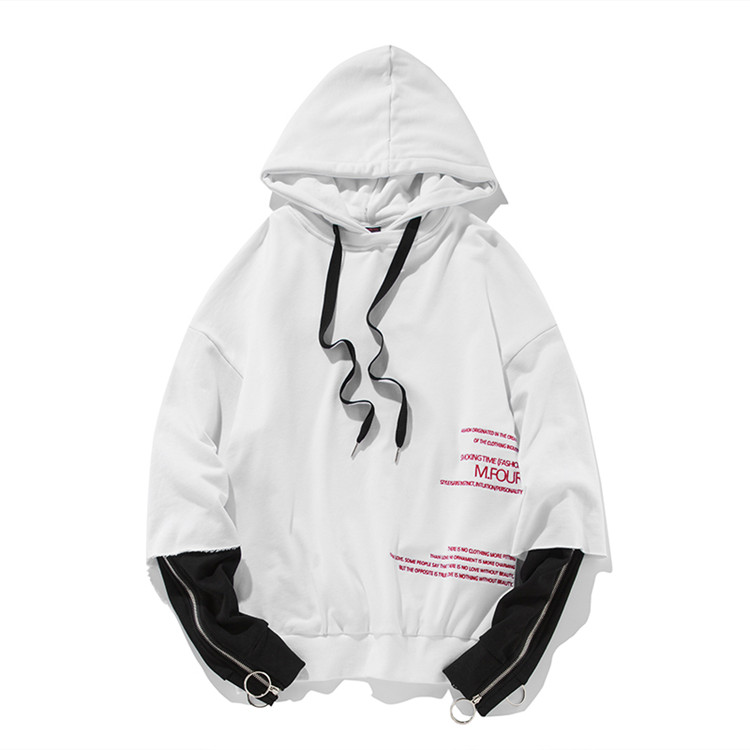 Oem Hoodie Fake Two Pieces Cotton Zipper Sleeve White Pullover Hoodies Custom Design Your Own Hip Hop Hoodie