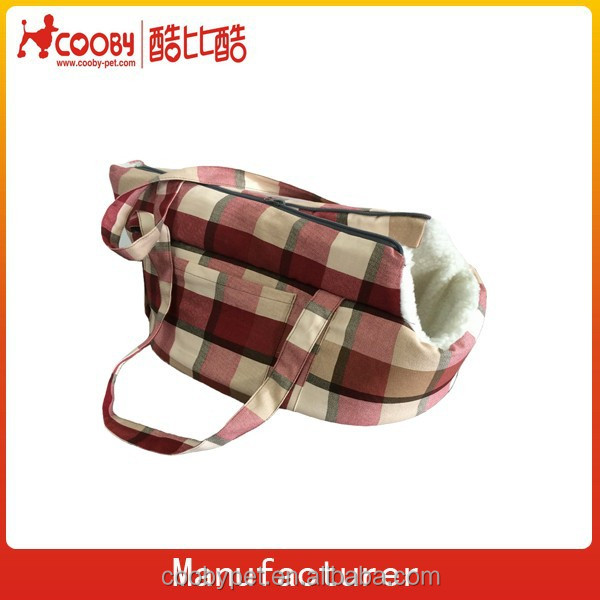 40*22*22cm plaid design/lamb wool outdoor pet bag&dog carrier