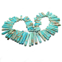 SM3081B Sea sediment jasper graduated stick beads,Aqua Terra Jasper long slab beads