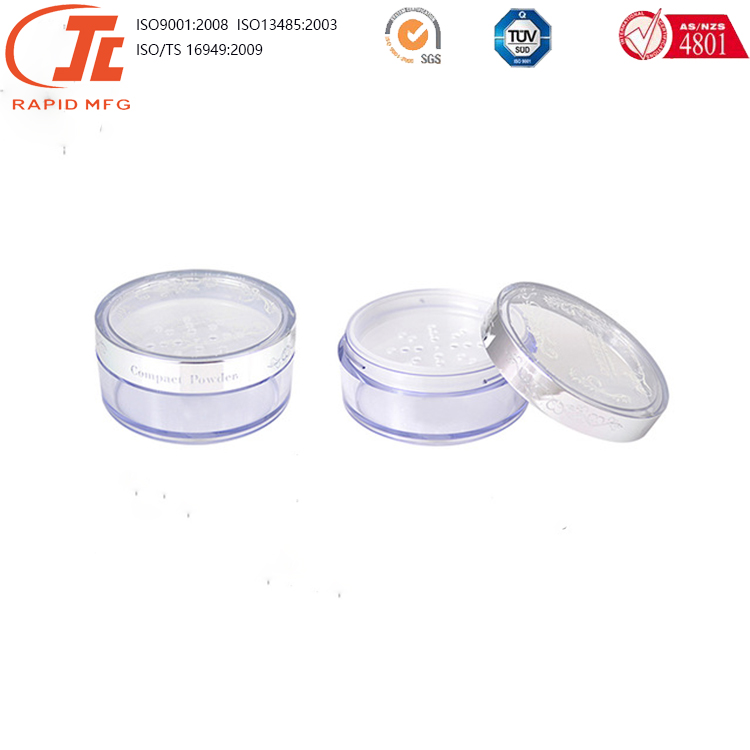 customized plastic compact powder case and cosmetic packaging with <strong>ABS</strong> /plastic injection molding part
