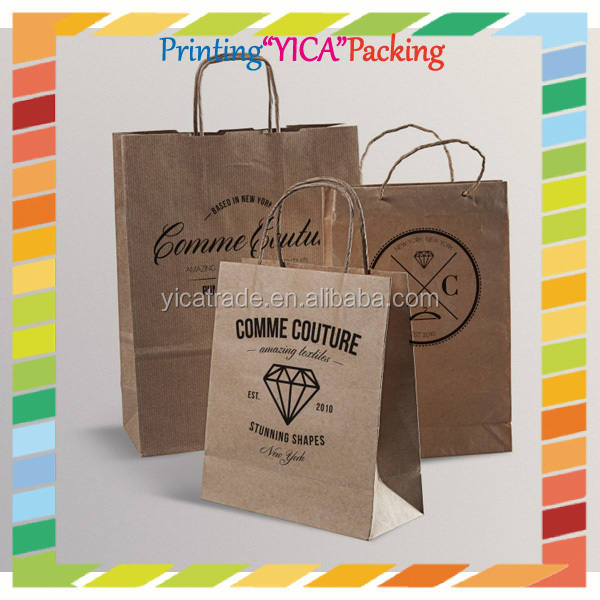 Shopping market nice quality colorful printing twist handle kraft paper bag