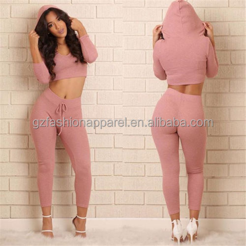 sexy yoga crop tops hoodies tight sweatpants tracksuit women