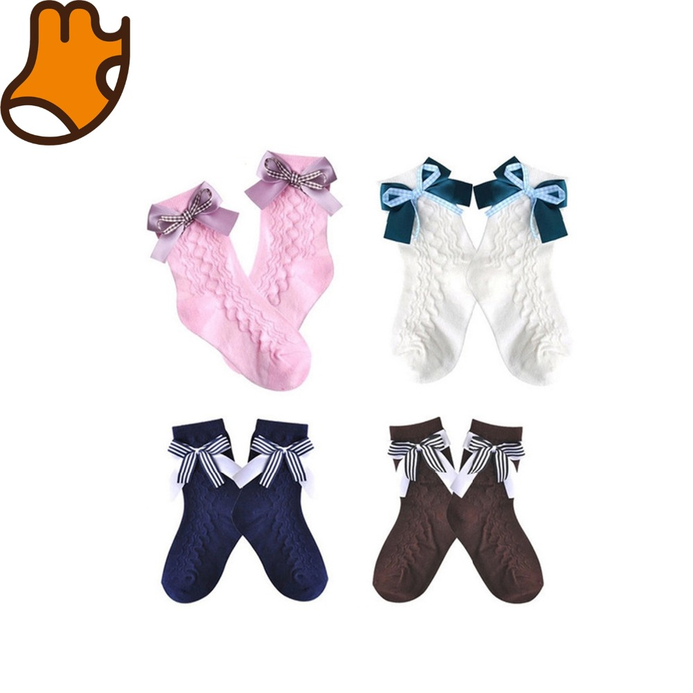 Hot sell lace fashion ankle socks with ribbon bow