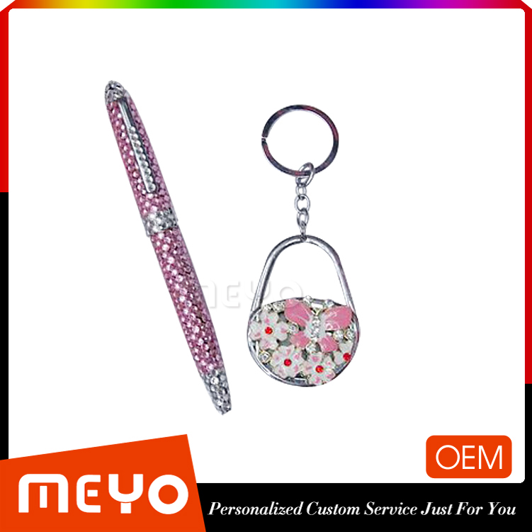 Custom promotion gift items exquisite wedding souvenirs return gift with pen and keychain set