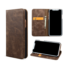 Flip kickstand genuine leather wallet mobile phone cover case for iPhone X