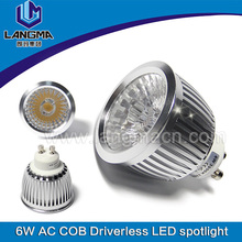 ce rohs approved cob dimmable aluminum 6w gu10 led spotlight