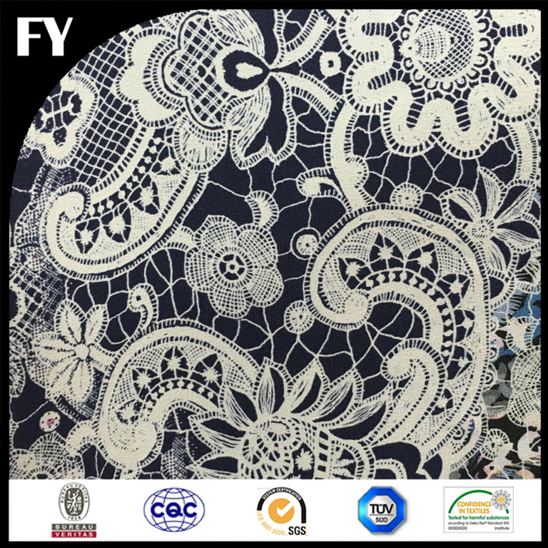 Factory digital print high quality embroidered silk fabric