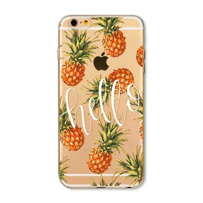 Printing Painted Case Pineapple pattern Silicone Protective Colorful Cell Phone Case For iPhone 6s