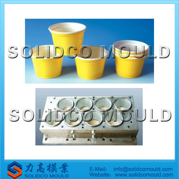 Injection plastic disposable ice cream cup mould