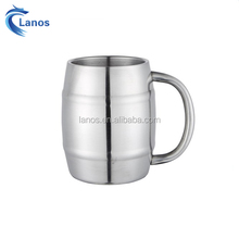 220ml coffee mug warmer Bucket Shape steel silver color coffee beer mug with wide mouth & big handle easy to clean and drink