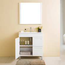 Wall Mount 2 Doors Linen Vanity Top Plywood Bathroom Wash Basin Cabinet With Mirror Sink Basin
