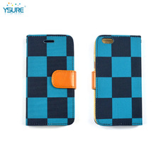 2015 New Trendy Special Grid Pattern Denim Leather Case For BlackBerry Bold 9900 with Card slots and PVC ID slot