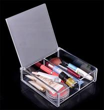clear acrylic cosmetic display case makeup storage organizer box with lid and 2 dividers