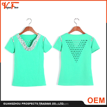 Fashion patterns Customized made size and colors beaded breathable loose fit women custom t-shirt