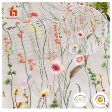 wholesale 3D Flower new Design French cheap colorful Korean Embroidery Tulle Lace Fabric