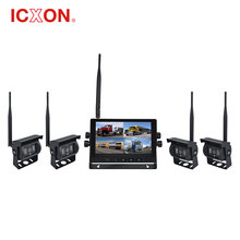"Wireless rear view system 7"" quad mode lcd tft monitor with waterproof camera for heavy vehicle"