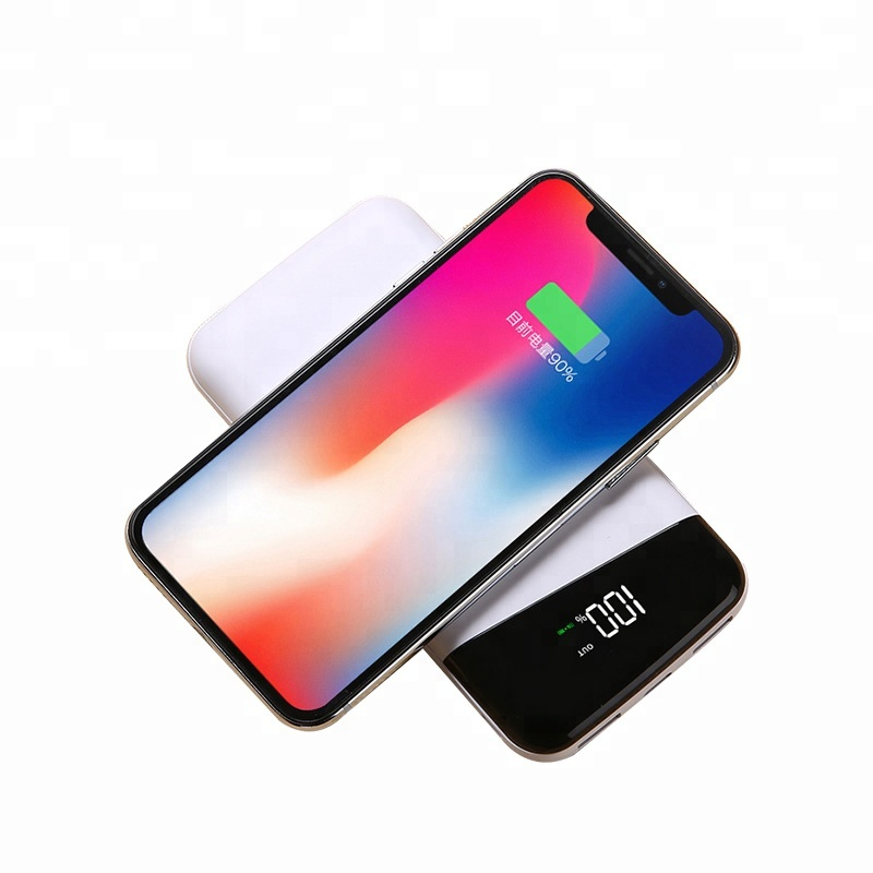 Qi Wireless Portable Charger,10000mAh Charging Power Bank with LED Digital Display External Battery Pack 2 in 1 for iphone x