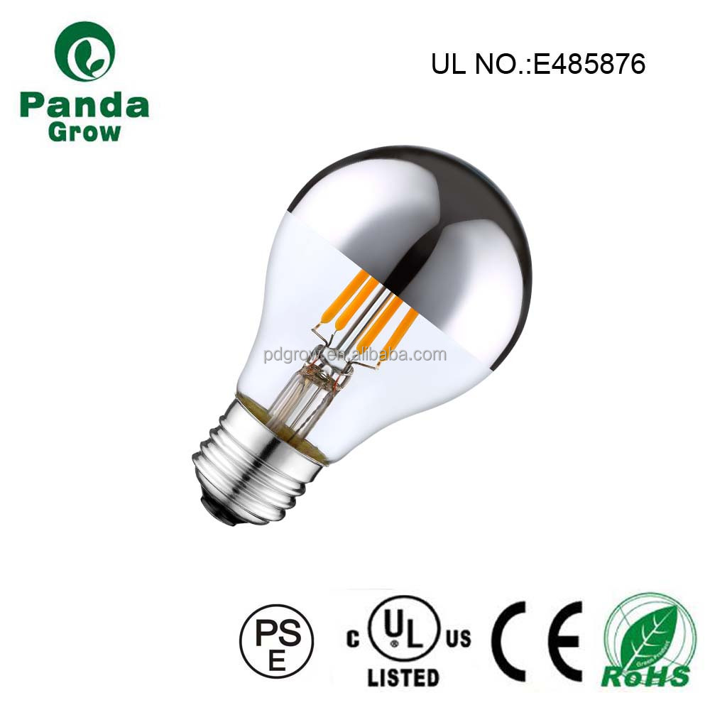Half silver coating A19 A60 4w 6w 8w 10w UL filament led bulb