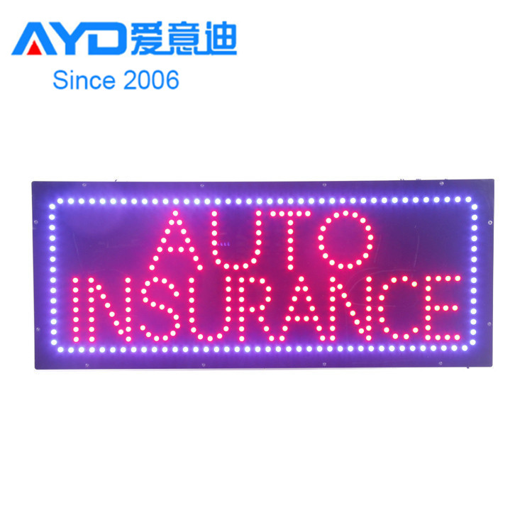 Acrylic Flasher Advertising Light Boxes Auto Insurance LED Moving <strong>Sign</strong> Factory Supplier