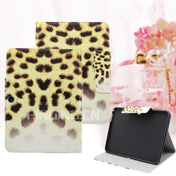 Leopard pattern pu leather case cover for blu touchbook g7 7.0 flip case