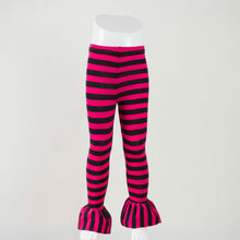 Hot sell ruffle boutique bottom toddler and children pants red and black girls kids stripe ruffle pants